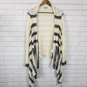 Energe Long Sleeve Striped Open Knit Cardigan